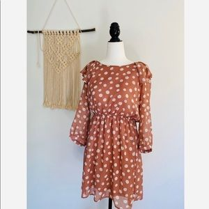 Forever 21 Pink polka dot dress size medium boho